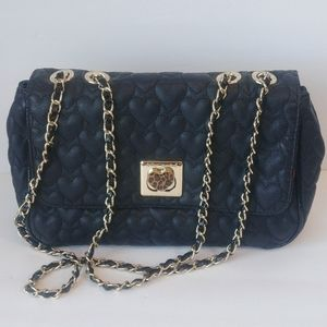 Betsey Johnson Quilted Heart Chain Link Bag